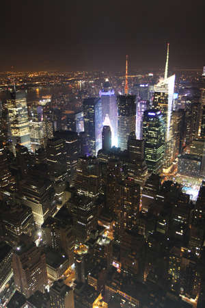New york night landscape from Empire tower Stock Photo