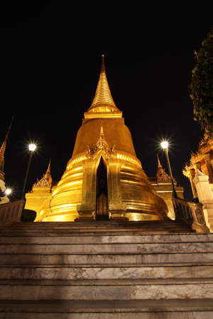 Pagoda in Grand Palace at night Stock Photo
