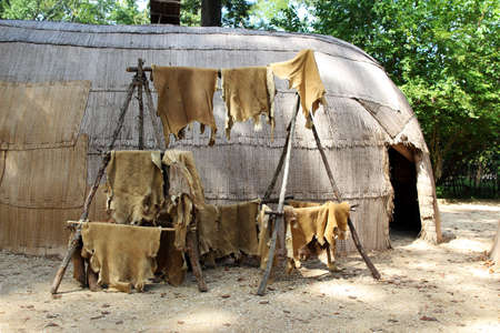 hides: Animal skins drying at a replica of a native American house