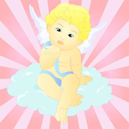 baby angel: Angelo del bambino che salta un bacio Vettoriali