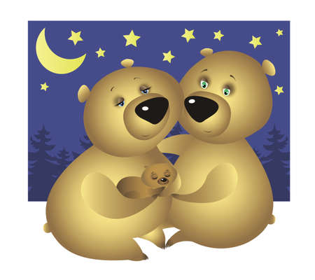 baby and mother: Bear family: Mother, Father, and their sleeping baby bear at night Illustration