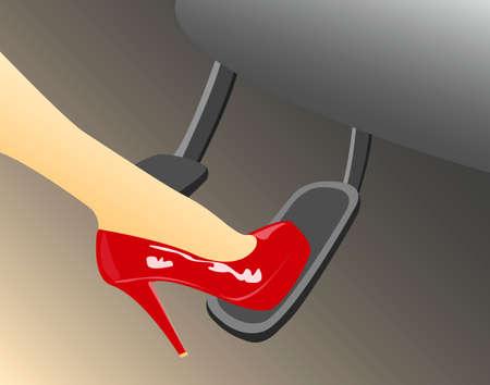 女性の足でアクセル ペダルを押す高ヒール赤靴
