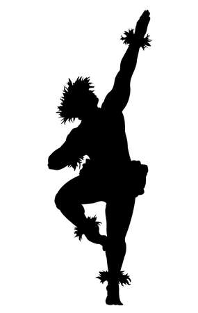 Black silhouette of a male Hula dancer on a white background