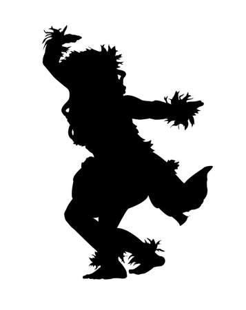 Black silhouette of a female Hula dancer on a white background