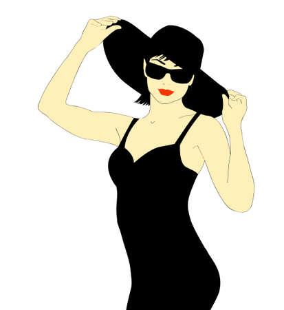 cocktail dress: Woman in a black dress