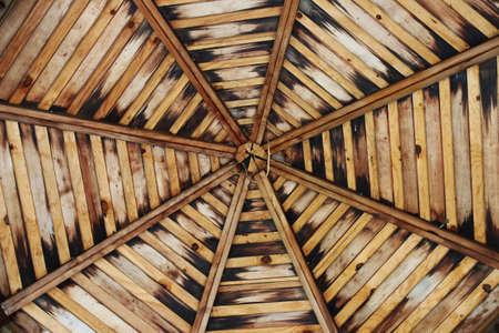 gazebo: View of the wooden gazebo ceiling Stock Photo