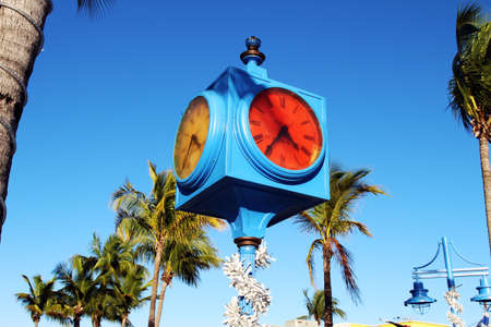 myers: Times Square clock, Estero Islands downtown, Fort Myers Beach, Florida Stock Photo