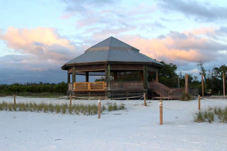 gulf of mexico: A wooden gazebo at the beach at sunset, Lovers Key State Park, Gulf of Mexico, Florida