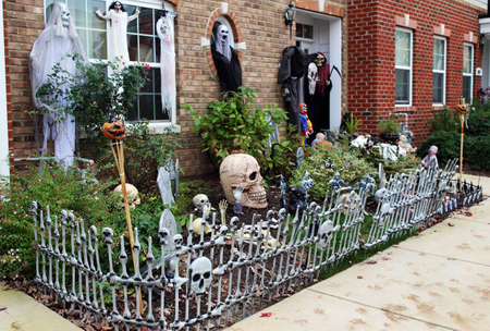 porch scene: Spooky scene on the front porch. Halloween front door decorations