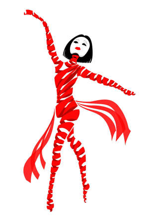 An abstract illustration of a dancing ballerina made of red ribbons