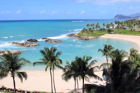 View of the Ko Olina beach resort and the Naia Lagoon, Oahu, Hawaii, USA