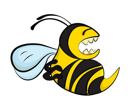 An angry bee. A cartoon illustration of an angry bee attacking and stinging