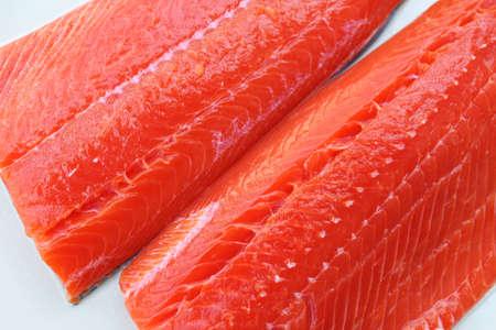 Wild-caught sockeye salmon fillets on a white background Reklamní fotografie