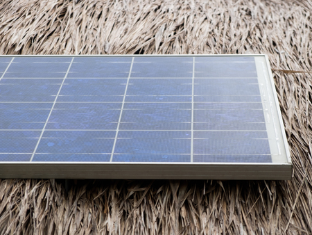 electric grid: Solar cell on the roof Stock Photo
