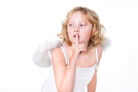 cute teenager girl as angel photo