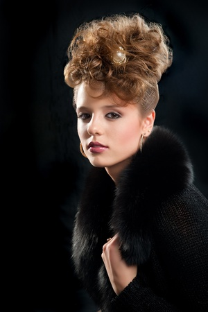 glam: beautiful fashion girl with makeup and coiffure