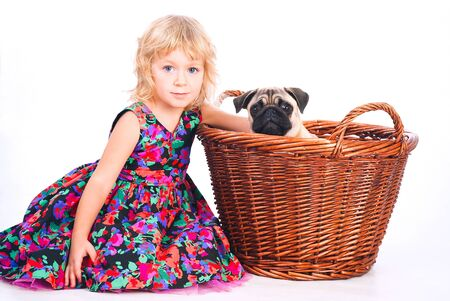 cute little girl embracing favorite dog in the backet  studio photoshoot photo