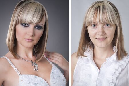 comparison: pretty young woman before and after makeover in studio