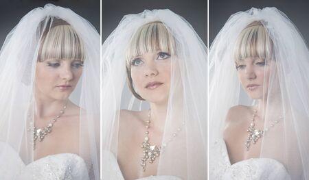 Collage of three bride photo