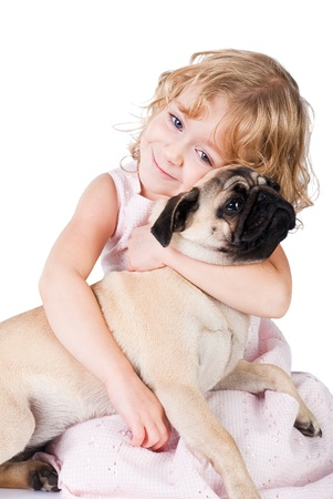 pug dog: Cute smiling girl with lovely dog isolated on white background