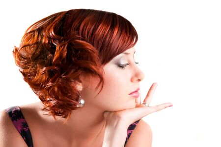 red haired: portrait of attractive red haired young woman Stock Photo