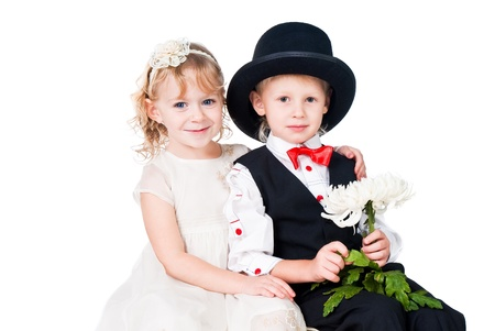 little gentlemen and lady romance isolated on white background