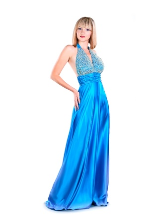 attraction young woman wearing blue gown isolated on white background photo