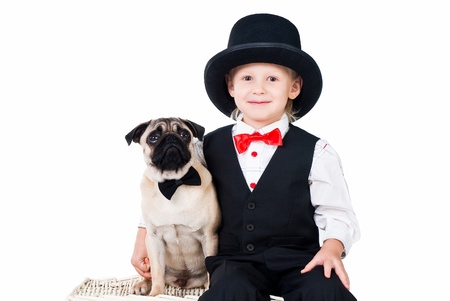 allegiance: little boy with dog set up for valentines greeting isolated on white background