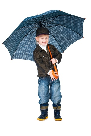 little boy with umbrella isolated on white background