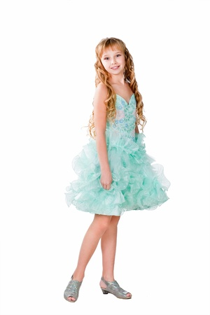 fancy dress party: Pretty teen girl in evening dress isolated on white background
