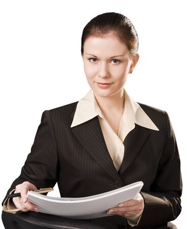 business attire teacher: portrait of writing business woman isolated on white background