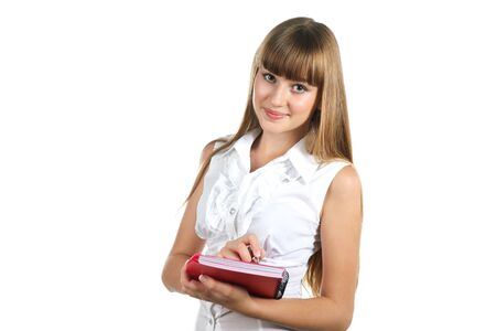 isoalated: Teen girl with notebook  isoalated on white background