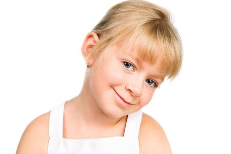 cute little girl smiling isolated over white Stock Photo