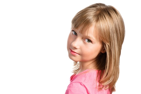 preteens girl: cute smiling stylish girl with nice blond hair isolated over white