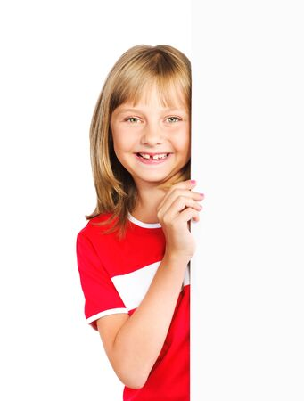cute preteen girl looking out vertical banner isolated over a white background
