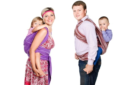 slings: happy family with babies 3-4 years old in slings isolated on white background