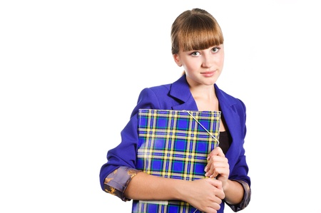 Teen student wearing blue jacket girl with  folder isoalated on white background
