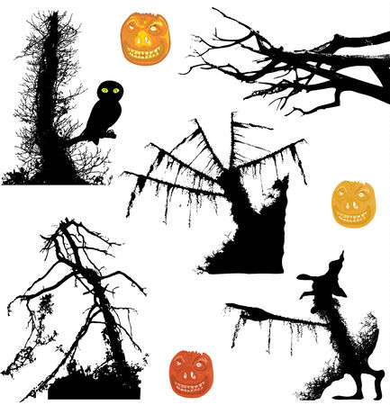 ghostly: Halloween ghostly silhouettes of trees and pumpkins