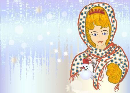 Christmas vintage card with hand drawn girl Vector