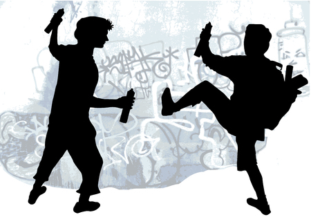 Silhouettes of taggers drawing graffiti Vector
