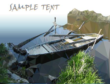ностальгический: Ностальгический осенний пейзаж с рекой и гребной лодке