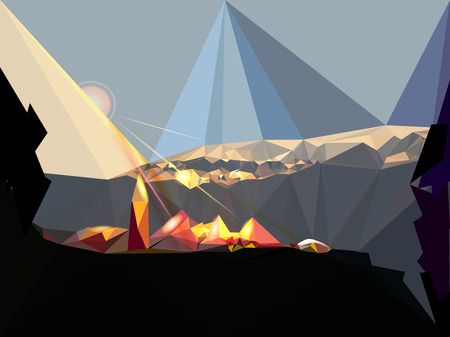Mountain landscape with rising sun, village and rocks Vector