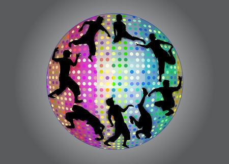 Street and break dance silhouettes in strobe ball Vector