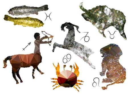 Planetary symbols of the Zodiac Vector