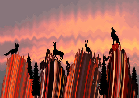 Stylized mountain landscape with silhouettes of animals Vector