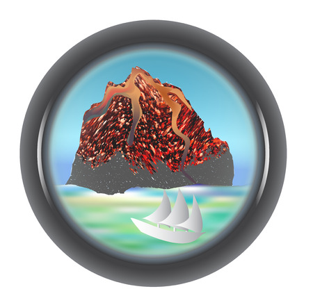 Telescope view of the volcano with a ship and sea Vector