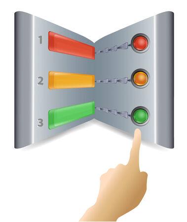 control panel: Pannello di controllo in metallo con luci colorate