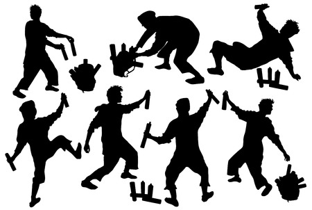 Silhouettes of tagger with a backpack and sprays Illustration