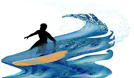 turbulent: Silhouette of a surfer in turbulent waves