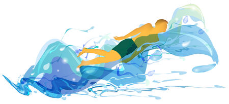 turbulent: Silhouette of swimmer in turbulent waves